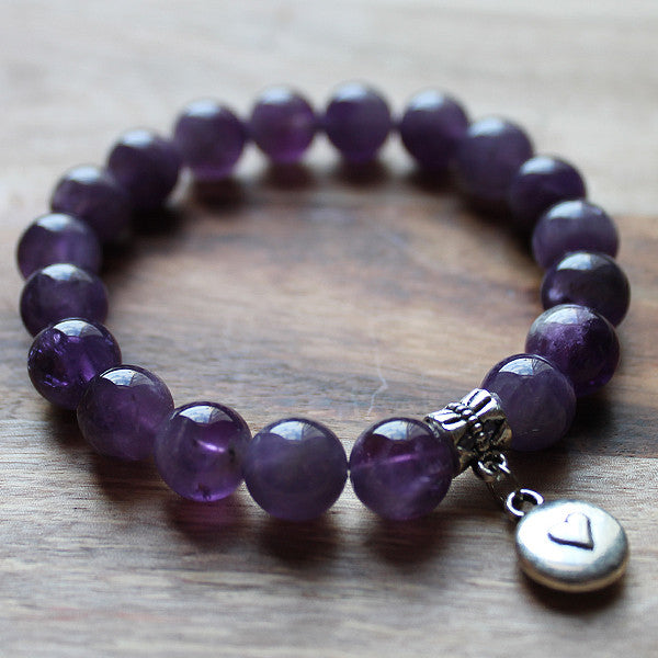20cm Purple Amethyst Semi Precious Stone Bracelet with choice of 4 charms - Cherish Me Jewellery - Melbourne Australia
