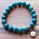 20cm Silver Charm & Blue Malachite Semi Precious Stone Bracelet with choice of 4 charms - Cherish Me Jewellery - Melbourne Australia