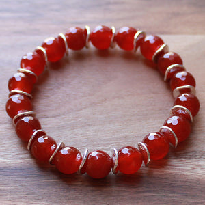 Semi Precious Silver Wave and Faceted Orange Carnelian Stone Bracelet - Cherish Me Jewellery - Melbourne Australia