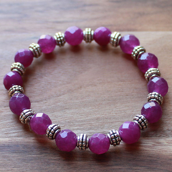 Semi Precious Silver and Purple Amethyst Faceted Stone Bracelet - Cherish Me Jewellery - Melbourne Australia