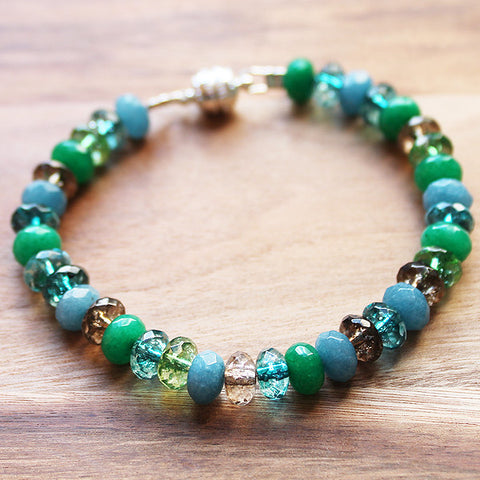 Abacus Faceted Green & Blue Smokey Quartz, Tourmaline & Quartz Natural Semi Precious Stone Bracelet - Cherish Me Jewellery - Melbourne Australia