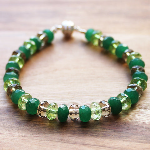 Abacus Faceted Green Smokey Quartz, Tourmaline & Jade Natural Semi Precious Stone Bracelet - Cherish Me Jewellery - Melbourne Australia
