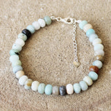100% 925 Solid Sterling Silver Blue Faceted Amazonite Abacus Rondelle Natural Stone Bracelet - Cherish Me Jewellery - Melbourne Australia