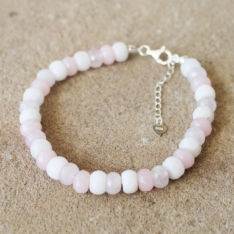 100% 925 Solid Sterling Silver Pink Faceted Agate Abacus Rondelle Natural Stone Bracelet - Cherish Me Jewellery - Melbourne Australia