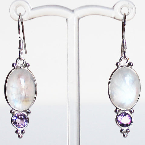 100% 925 Solid Sterling Silver Semi-Precious Rainbow Moonstone and Purple Amethyst Natural Stone Earrings - Cherish Me Jewellery - Melbourne Australia