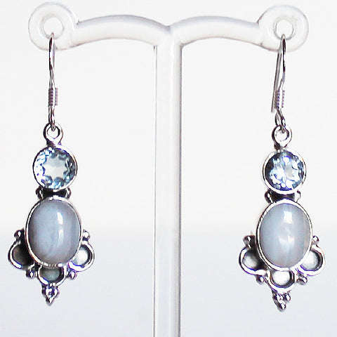 100% 925 Solid Sterling Silver Semi-Precious Blue Topaz and Agate Natural Stone Earrings - Cherish Me Jewellery - Melbourne Australia