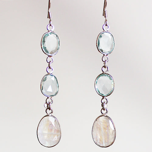 100% 925 Solid Sterling Silver Semi-Precious Blue Topaz & Moonstone Natural Stone Three-Tier Drop Earrings - Cherish Me Jewellery - Melbourne Australia
