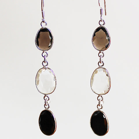 100% 925 Solid Sterling Silver Semi-Precious Smokey Quartz, Clear Quartz & Black Agate Natural Stone Three-Tier Drop Earrings - Cherish Me Jewellery - Melbourne Australia
