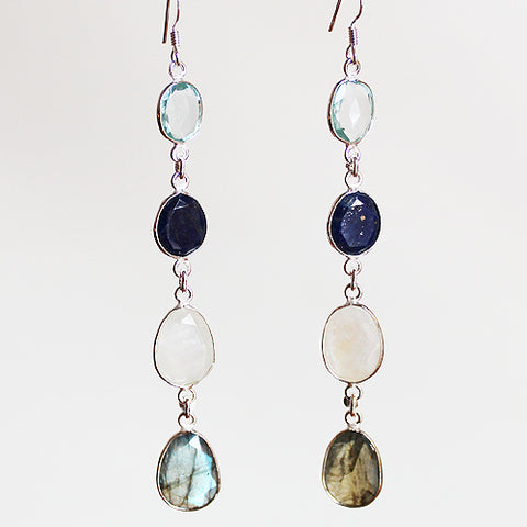 100% 925 Solid Sterling Silver Semi-Precious Blue Topaz, Lapis Lazuli, Moonstone & Labradorite Natural Stone Four-Tier Drop Earrings - Cherish Me Jewellery - Melbourne Australia