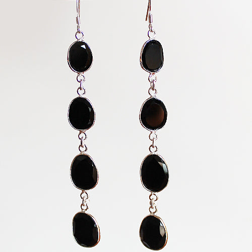 100% 925 Solid Sterling Silver Semi-Precious Black Agate Natural Stone Four-Tier Drop Earrings - Cherish Me Jewellery - Melbourne Australia