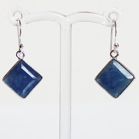 100% 925 Solid Sterling Silver Semi-Precious Blue Sapphire Diamond Natural Stone Earrings - Cherish Me Jewellery - Melbourne Australia