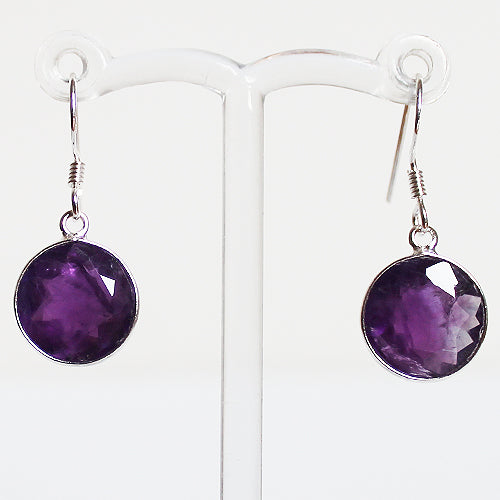 100% 925 Solid Sterling Silver Semi-Precious Purple Amethyst Circle Natural Stone Earrings - Cherish Me Jewellery - Melbourne Australia
