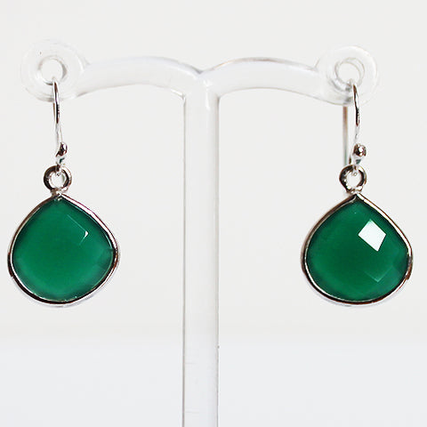 100% 925 Solid Sterling Silver Semi-Precious Green Onyx Teardrop Natural Stone Earrings - Cherish Me Jewellery - Melbourne Australia