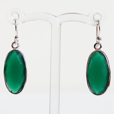 100% 925 Solid Sterling Silver Semi-Precious Green Onyx Oval Natural Stone Earrings - Cherish Me Jewellery - Melbourne Australia