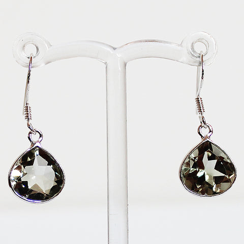 100% 925 Solid Sterling Silver Semi-Precious Green Amethyst Teardrop Natural Stone Earrings - Cherish Me Jewellery - Melbourne Australia
