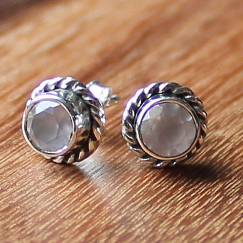 100% 925 Solid Sterling Silver Semi-Precious Faceted Pink Rose Quartz Natural Stone Stud Earrings - Cherish Me Jewellery - Melbourne Australia