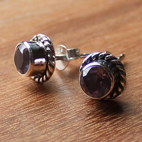 100% 925 Solid Sterling Silver Semi-Precious Faceted Purple Amethyst Natural Stone Stud Earrings - Cherish Me Jewellery - Melbourne Australia