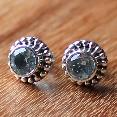 100% 925 Solid Sterling Silver Semi-Precious Faceted Blue Topaz Natural Stone Stud Earrings - Cherish Me Jewellery - Melbourne Australia