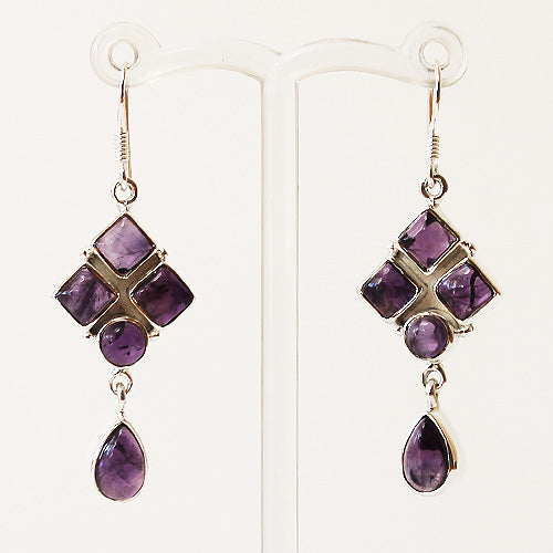 100% 925 Solid Sterling Silver Semi-Precious Purple Amethyst Natural Stone Earrings - Cherish Me Jewellery - Melbourne Australia