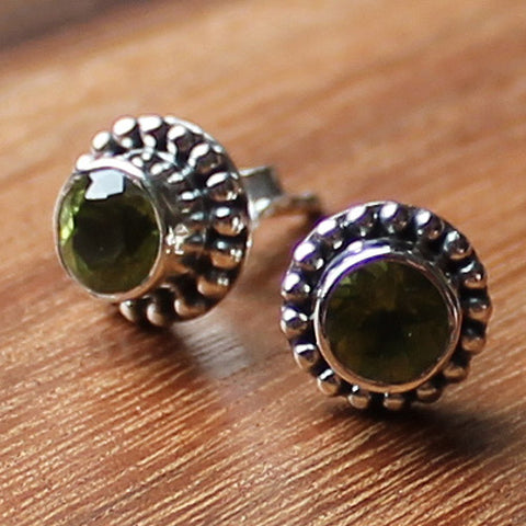 100% 925 Solid Sterling Silver Semi-Precious Faceted Green Peridot Natural Stone Stud Earrings - Cherish Me Jewellery - Melbourne Australia