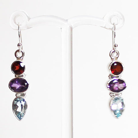 100% 925 Solid Sterling Silver Semi-Precious Multi-Stone Red Garnet, Purple Amethyst & Blue Topaz Natural Stone Earrings - Cherish Me Jewellery - Melbourne Australia