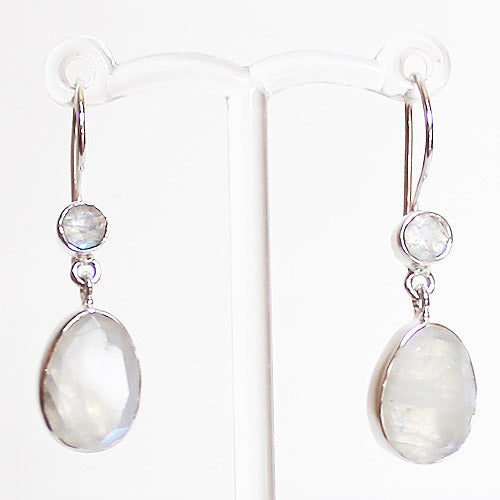 100% 925 Solid Sterling Silver Semi-Precious Rainbow Moonstone Natural Stone Earrings - Cherish Me Jewellery - Melbourne Australia