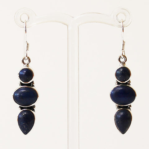 100% 925 Solid Sterling Silver Semi-Precious Blue Lapis Lazuli Natural Stone Earrings - Cherish Me Jewellery - Melbourne Australia