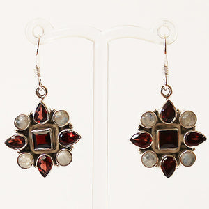 100% 925 Solid Sterling Silver Semi-Precious Red Garnet and Moonstone Natural Stone Earrings - Cherish Me Jewellery - Melbourne Australia