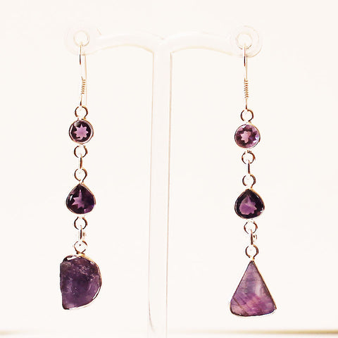 100% 925 Solid Sterling Silver Rough Cut Purple Amethyst Semi-Precious Natural Stone Drop Earrings - Cherish Me Jewellery - Melbourne Australia