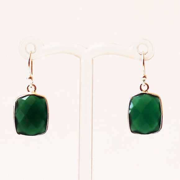 100% 925 Solid Sterling Silver Semi-Precious Green Onyx Rectangle Natural Stone Earrings - Cherish Me Jewellery - Melbourne Australia