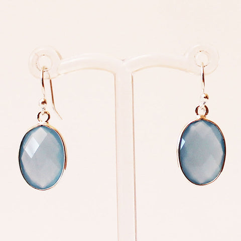 100% 925 Solid Sterling Silver Semi-Precious Blue Calcedony Oval Natural Stone Earrings - Cherish Me Jewellery - Melbourne Australia