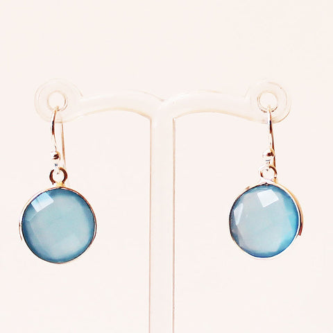 100% 925 Solid Sterling Silver Semi-Precious Blue Calcedony Round Natural Stone Earrings - Cherish Me Jewellery - Melbourne Australia