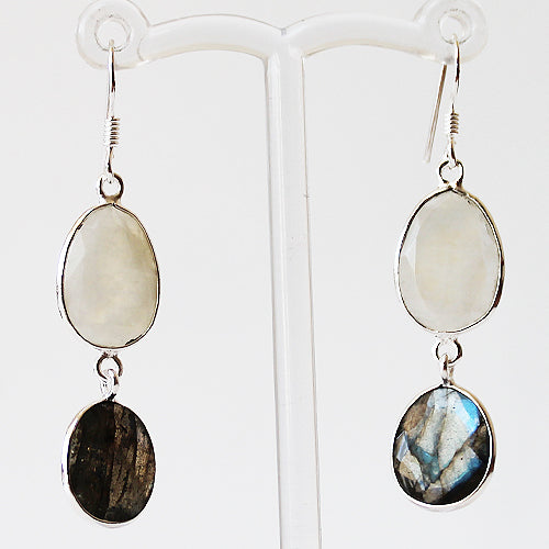 100% 925 Solid Sterling Silver Semi-Precious Rainbow Moonstone and Labradorite Natural Stone Earrings - Cherish Me Jewellery - Melbourne Australia