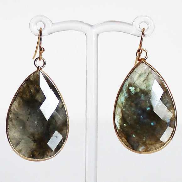 24K Gold Semi-Precious Natural Stone Faceted Labradorite Teardrop Earrings - Cherish Me Jewellery - Melbourne Australia