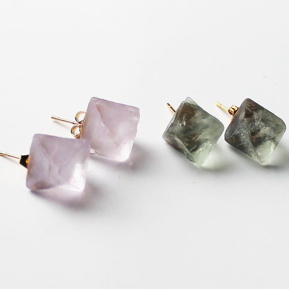 24K Gold Semi-Precious Natural Stone Chunky Fluorite Stud Earrings - Cherish Me Jewellery - Melbourne Australia