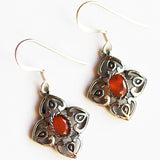 100% 925 Solid Sterling Silver Semi-Precious Orange Carnelian Natural Stone Earrings - Cherish Me Jewellery - Melbourne Australia