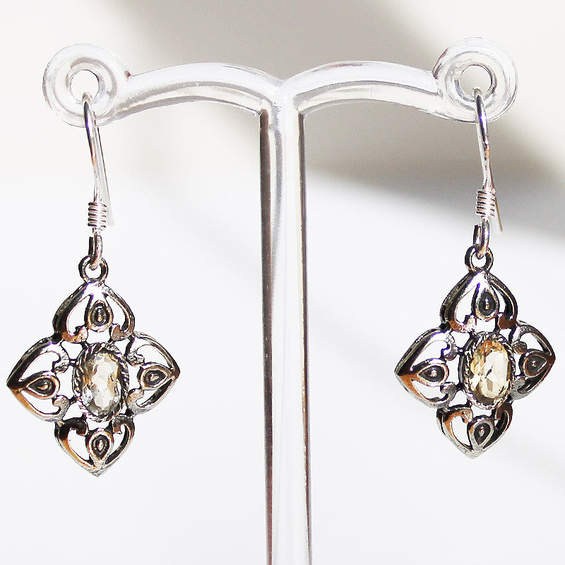 100% 925 Solid Sterling Silver Semi-Precious Lemon Cirtine Natural Stone Earrings - Cherish Me Jewellery - Melbourne Australia