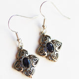 100% 925 Solid Sterling Silver Semi-Precious Blue Iolite Natural Stone Earrings - Cherish Me Jewellery - Melbourne Australia