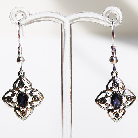 100% 925 Solid Sterling Silver Semi-Precious Blue Lolite Natural Stone Earrings - Cherish Me Jewellery - Melbourne Australia