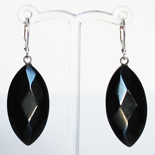 Earrings - Leaf Shaped Natural Semi Precious Black Faceted Marquise Agate Stone - Cherish Me Jewellery - Melbourne Australia