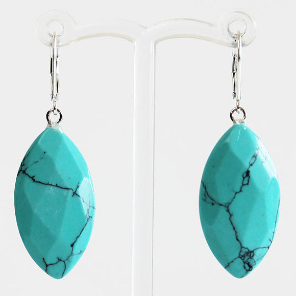 Earrings - Leaf Shaped Natural Semi Precious Blue Faceted Marquise Turquoise Stone - Cherish Me Jewellery - Melbourne Australia