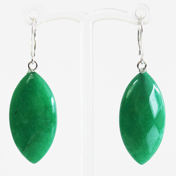 Earrings - Leaf Shaped Natural Semi Precious Green Marquise Faceted Agate Stone - Cherish Me Jewellery - Melbourne Australia