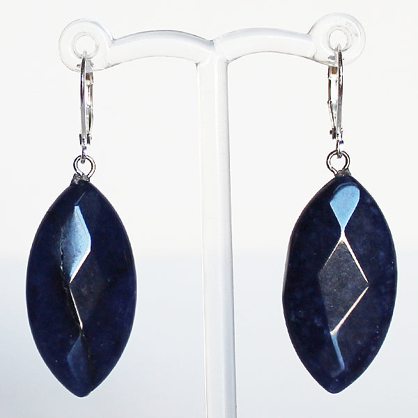 Earrings - Leaf Shaped Natural Semi Precious Faceted Blue Lapis Lazuli Stone - Cherish Me Jewellery - Melbourne Australia