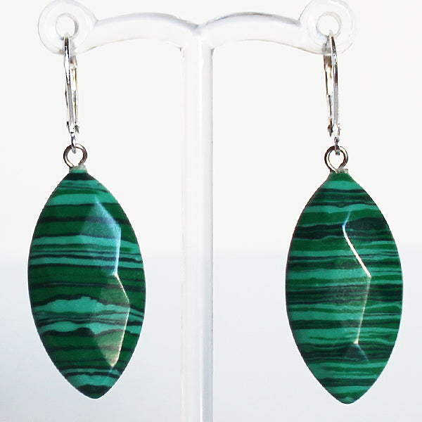 Earrings - Leaf Shaped Semi Precious Green Faceted Marquise Malachite Stone - Cherish Me Jewellery - Melbourne Australia