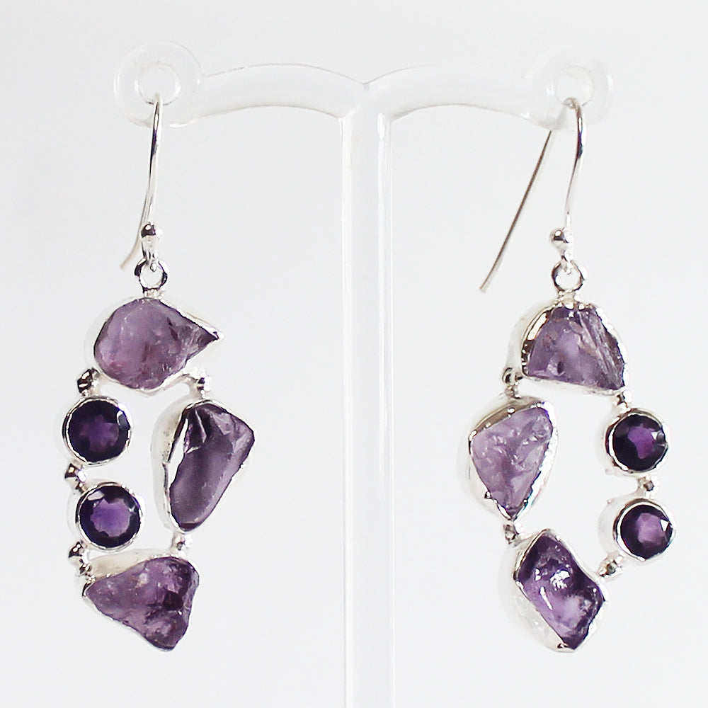 100% 925 Solid Sterling Silver Rough Cut Purple Amethyst Semi-Precious Natural Multi-Stone Drop Earrings - Cherish Me Jewellery - Melbourne Australia