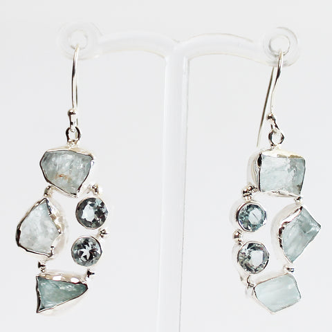100% 925 Solid Sterling Silver Rough Cut Blue Aquamarine Semi-Precious Multi-Stone Drop Earrings - Cherish Me Jewellery - Melbourne Australia