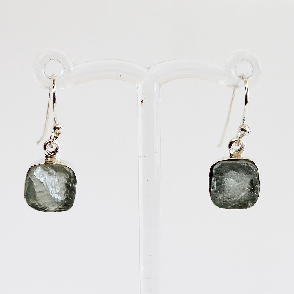 100% 925 Solid Sterling Silver Rough Cut Blue Aquamarine Semi Precious Natural Stone Earrings - Cherish Me Jewellery - Melbourne Australia