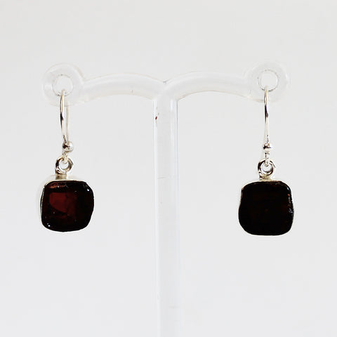 100% 925 Solid Sterling Silver Rough Cut Red Garnet Semi Precious Natural Stone Earrings - Cherish Me Jewellery - Melbourne Australia