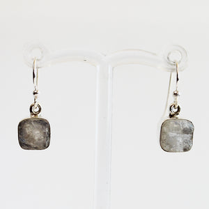 100% 925 Solid Sterling Silver Rough Cut White Moonstone Semi Precious Natural Stone Earrings - Cherish Me Jewellery - Melbourne Australia