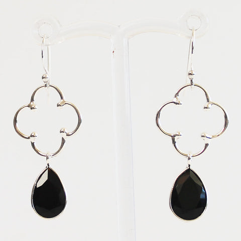 100% 925 Solid Sterling Silver Semi-Precious Black Onyx Natural Stone Earrings - Cherish Me Jewellery - Melbourne Australia
